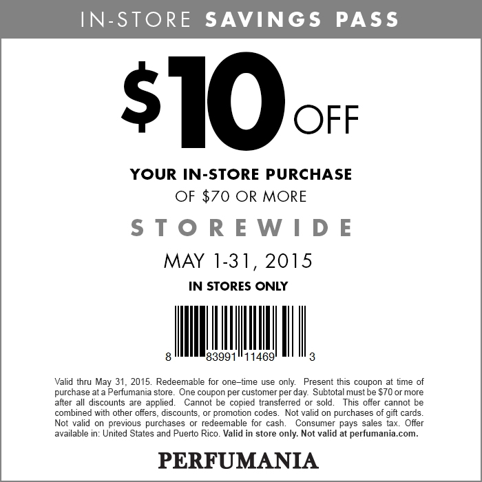 Perfumania Coupon October 2016 $10 off $70 at Perfumania