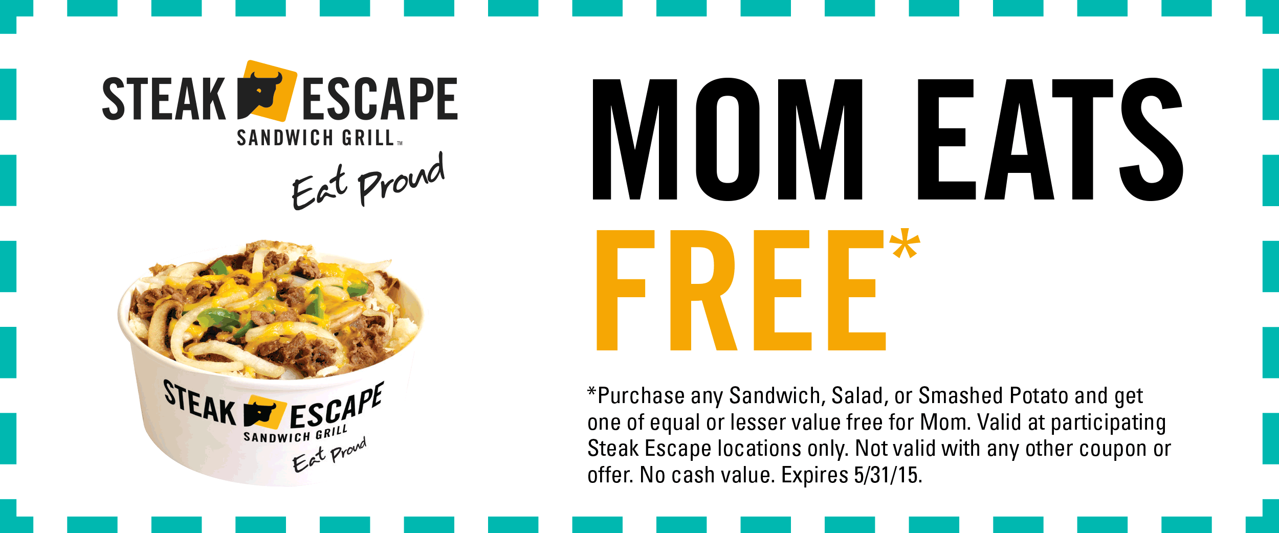 Steak Escape Coupon June 2017 Second sandwich or salad free for Mom all month at Steak Escape