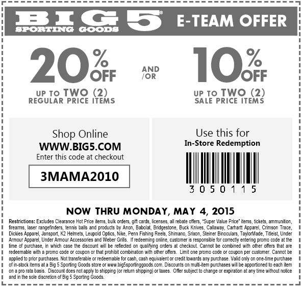 Big 5 Coupon July 2018 20% off a couple items at Big 5 sporting goods, or online via promo code 3MAMA2010