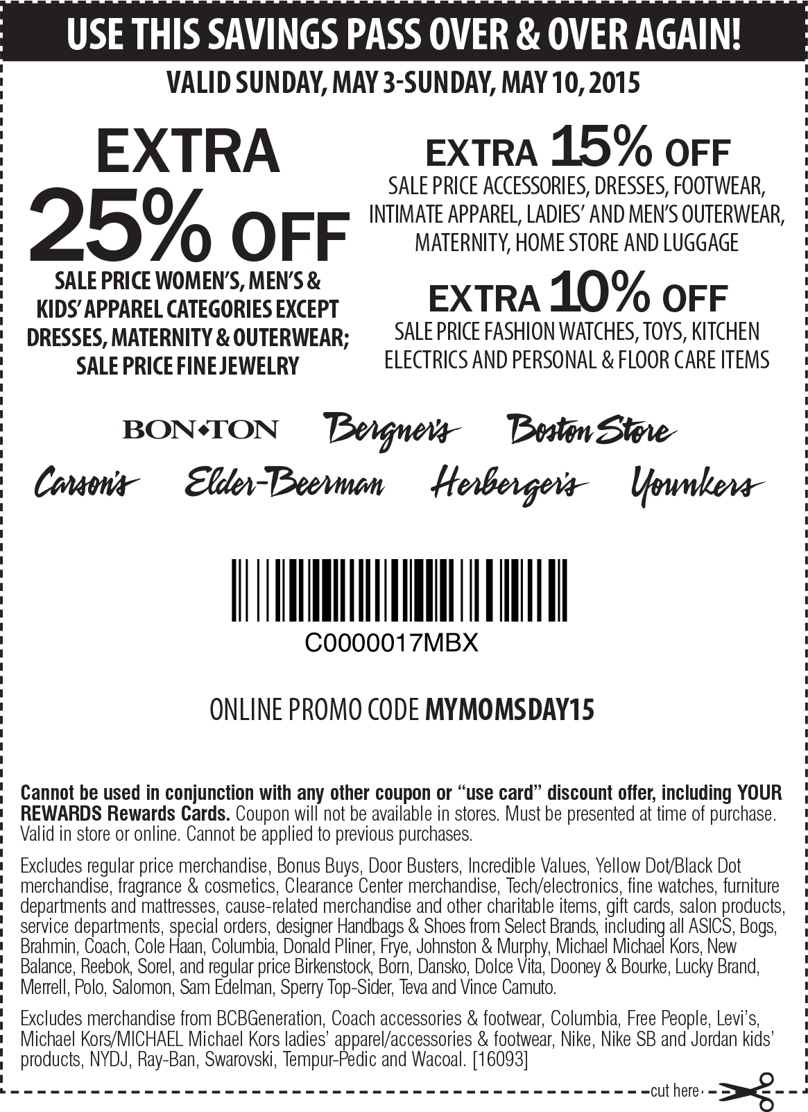 Carsons Coupon September 2017 Extra 25% off sale apparel at Carsons, Bon Ton & sister stores, or online via promo code MYMOMSDAY15