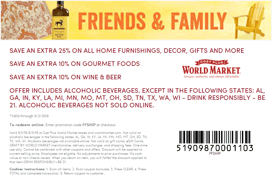 World Market Coupon August 2017 25% off today at Cost Plus World Market, or online via promo code FFSHIP