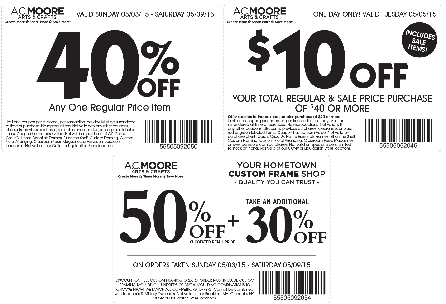 A.C. Moore Coupon February 2019 $10 off $40 & more at A.C. Moore