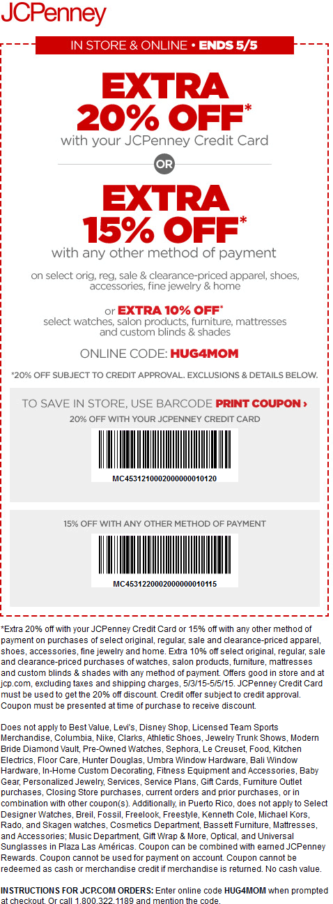 JCPenney Coupon March 2017 15% off at JCPenney, or online via promo code HUG4MOM