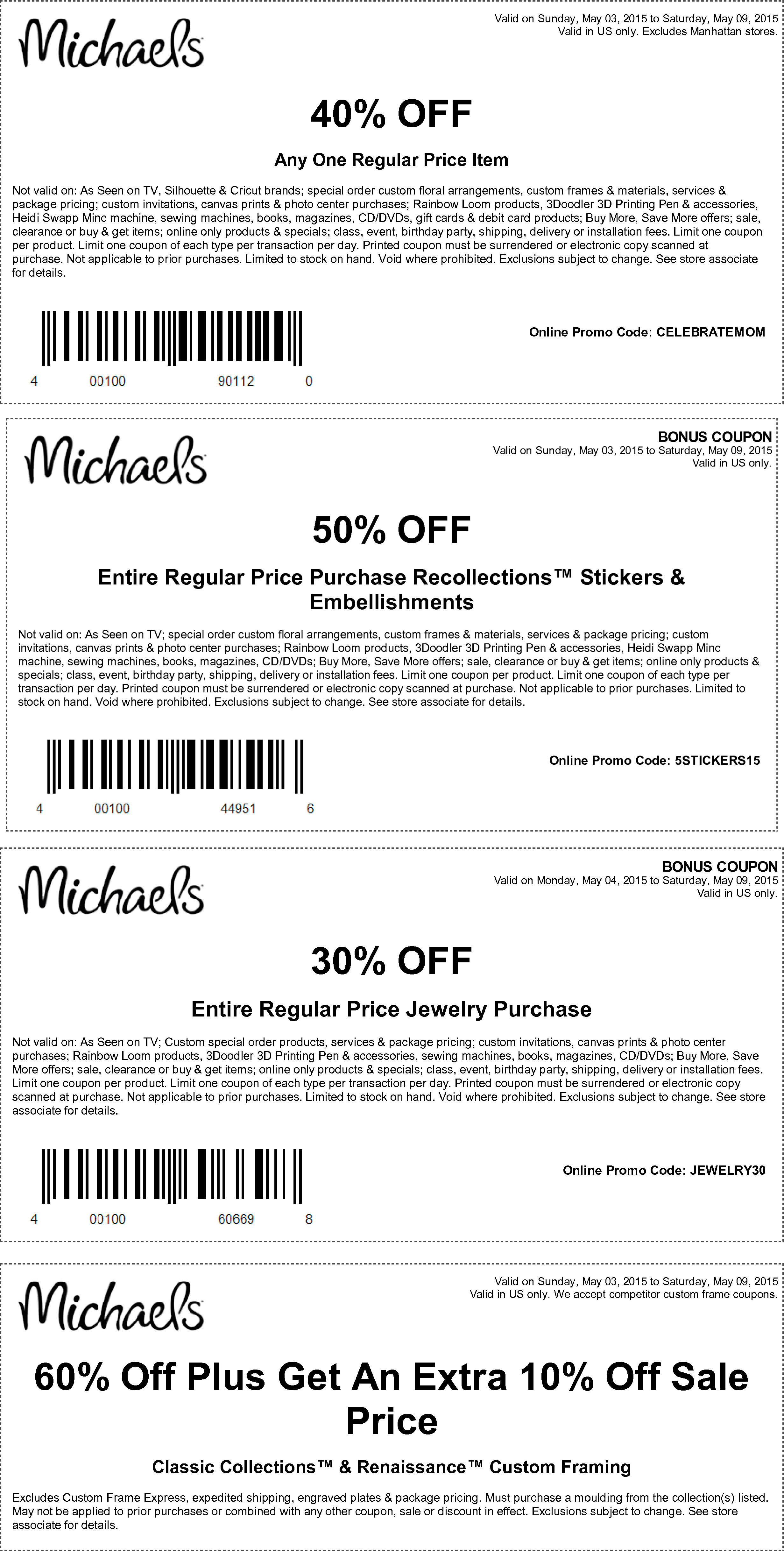 Michaels Coupon July 2018 40% off a single item & more at Michaels, or online via promo code CELEBRATEMOM