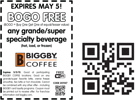 Biggby Coffee Coupon February 2018 Second coffee free today at Biggby Coffee