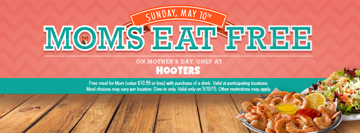 Hooters Coupon March 2018 Mom eats free Sunday at Hooters