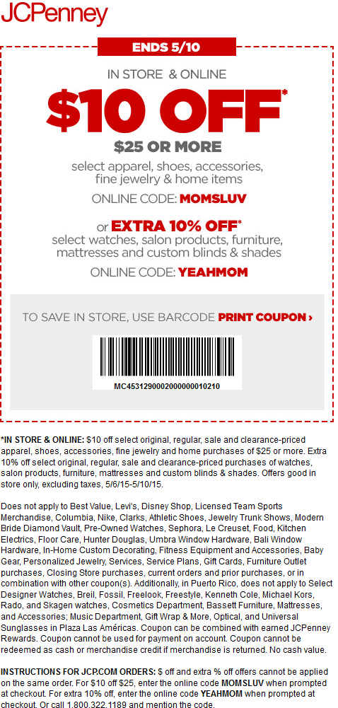 JCPenney Coupon May 2019 $10 off $25 at JCPenney, or online via promo code MOMSLUV