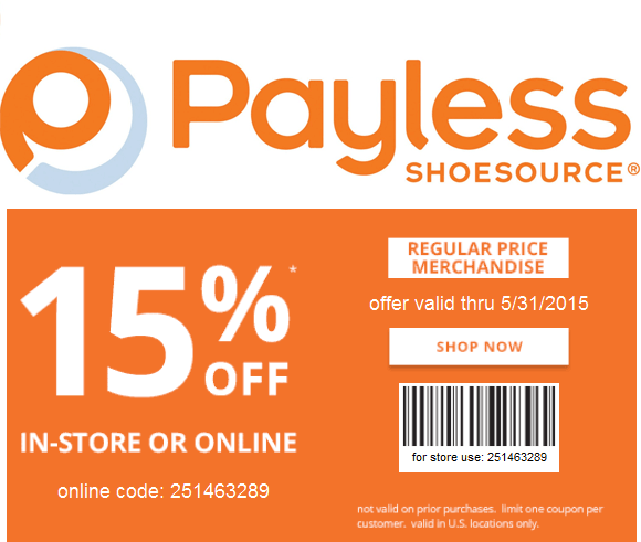 Payless Shoesource Coupon May 2017 15% off at Payless Shoesource, or online via promo code 251463289
