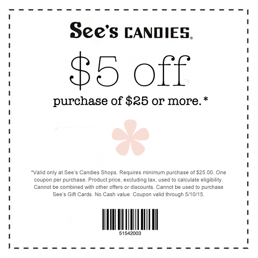 Sees Candies Coupon January 2018 $5 off $25 at Sees Candies