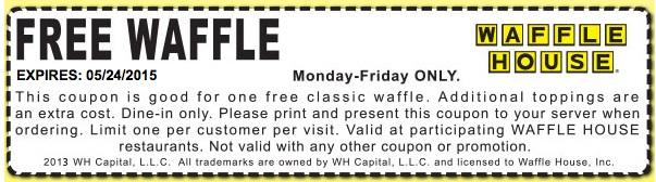 Waffle House Coupon August 2017 Free waffle weekdays at Waffle House