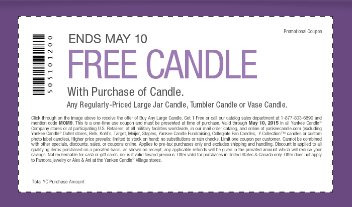 Yankee Candle Coupon July 2018 Second candle free at Yankee Candle, or online via promo code MOM9