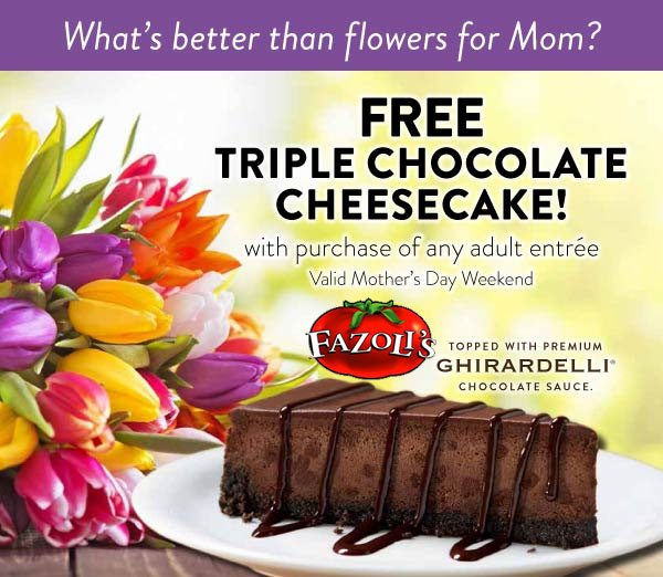 Fazolis Coupon July 2017 Chocolate cheesecake free with your entree Sunday at Fazolis restaurants