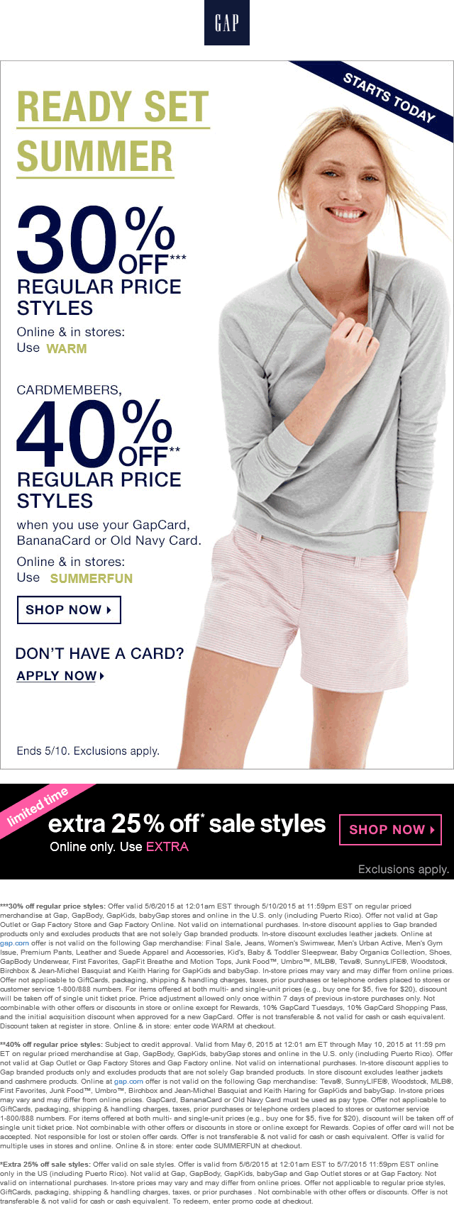Gap Coupon June 2017 30% off at Gap, or online via promo code WARM