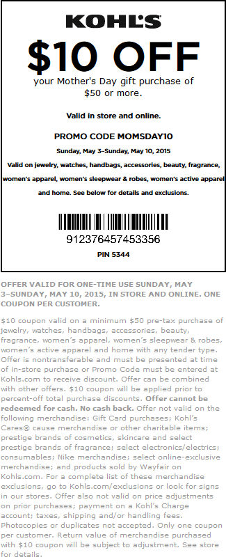 Kohls Coupon March 2018 $10 off $50 on Mothers Day gifts at Kohls, or online via promo code MOMSDAY10