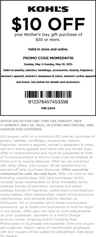 Kohls Coupon September 2017 $10 off $50 on Mothers Day gifts at Kohls, or online via promo code MOMSDAY10