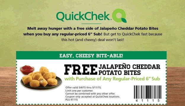 QuickCheck Coupon January 2018 Free jalapeno cheddar potatoes with your sub at QuickChek gas stations