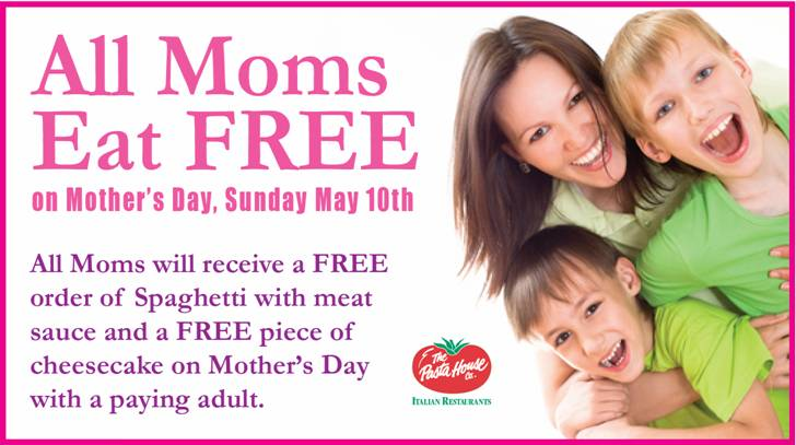 The Pasta House Coupon November 2017 Moms eat free Mothers Day at The Pasta House Italian restaurants