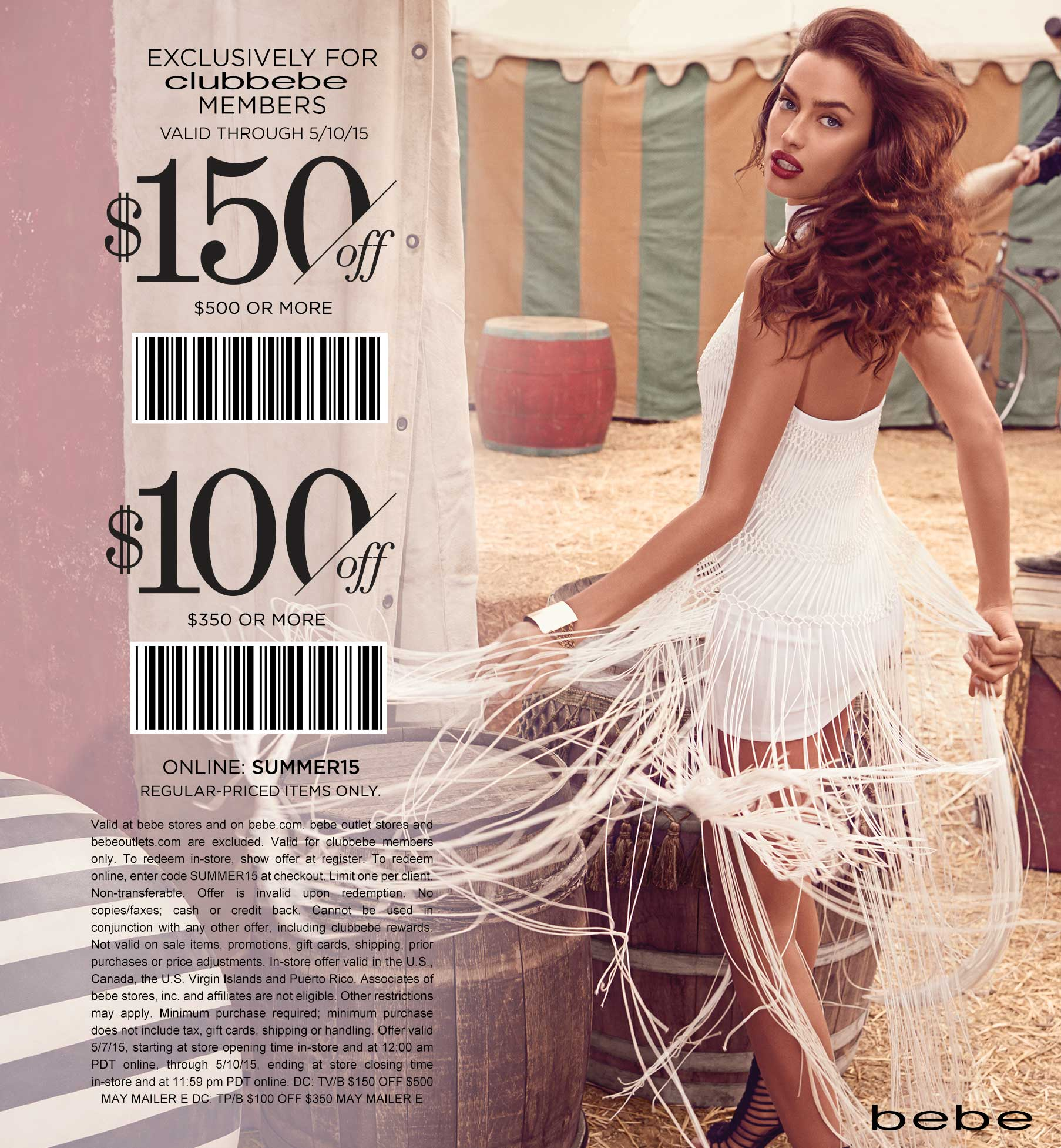 Bebe Coupon March 2018 $100 off $350 & more at bebe, or online via promo code SUMMER15
