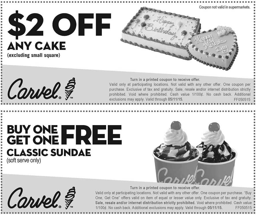 Carvel Coupon December 2016 Second ice cream sundae free at Carvel