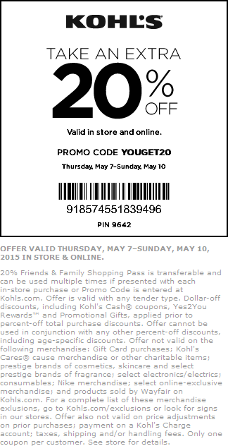 Kohls Coupon January 2019 Extra 20% off at Kohls, or online via promo code YOUGET20