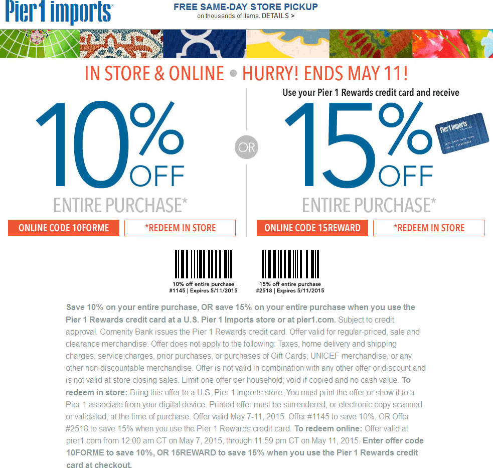 Pier 1 Coupon January 2017 10% off everything at Pier 1 Imports, or online via promo code 10FORME