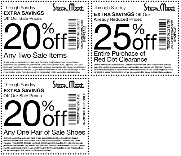 Stein Mart Coupon December 2018 Extra 20% off a couple sale items & more at Stein Mart, or online via promo code SHOPSALE