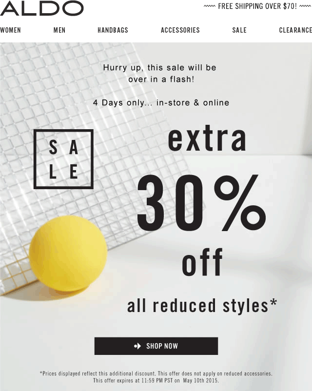 Aldo Coupon July 2017 Extra 30% off sale items at ALDO, ditto online