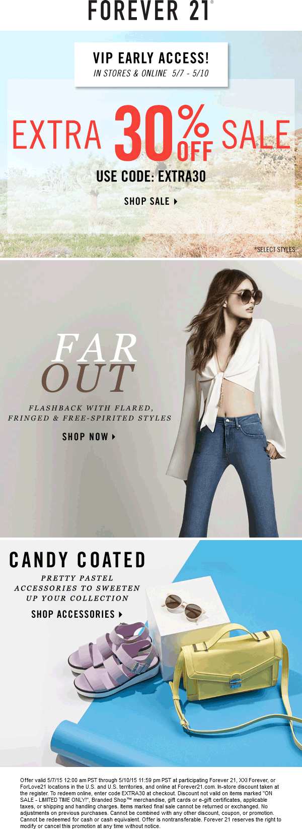 Forever 21 Coupon October 2018 Extra 30% off sale items at Forever 21, XXI Forever, or ForLove21, or online via promo code EXTRA30