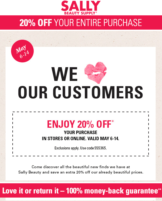Sally Beauty Coupon February 2018 20% off at Sally Beauty Supply, or online via promo code 555365