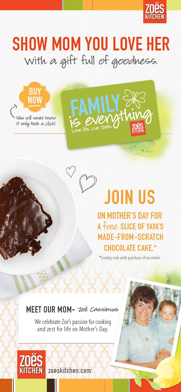 Zoes Kitchen Coupon July 2017 Free chocolate cake with your entree Sunday at Zoes Kitchen