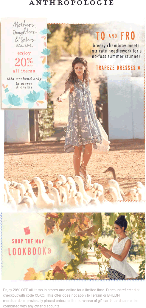 Anthropologie Coupon March 2017 20% off everything at Anthropologie, or online via promo code XOXO