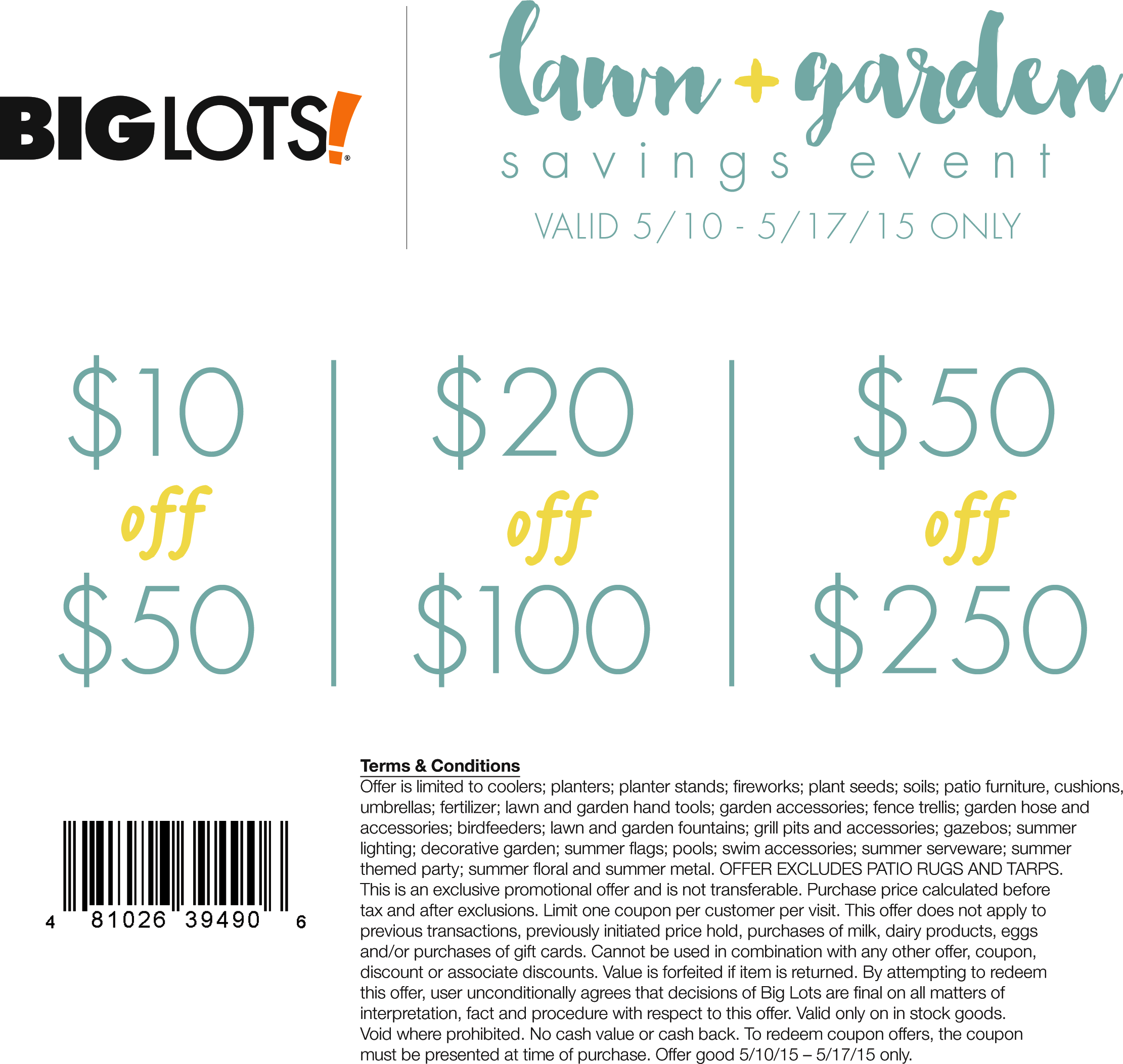 Big Lots Coupon June 2019 $10 off $50 & more on lawn & garden at Big Lots