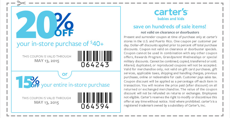 Carters Coupon January 2018 15-20% off at Carters