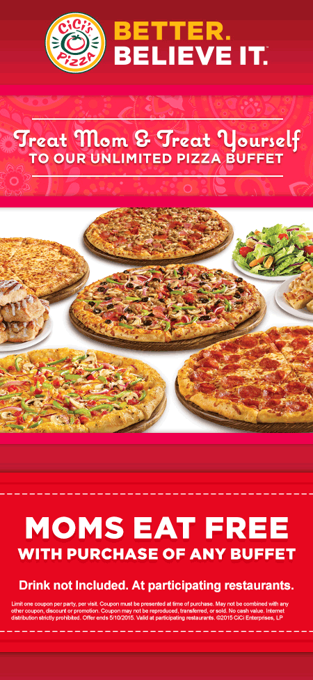 CiCis Pizza Coupon December 2018 Mom eats free with your buffet at CiCis Pizza