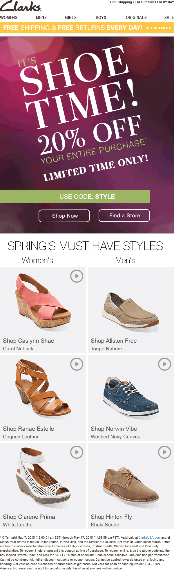 Clarks Coupon January 2018 20% off the shoes at Clarks, or online via promo code STYLE
