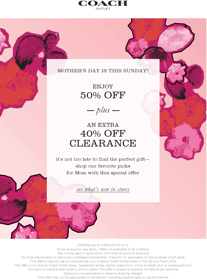 Coach Coupon February 2019 Extra 50% off + 40% off clearance at Coach Outlet