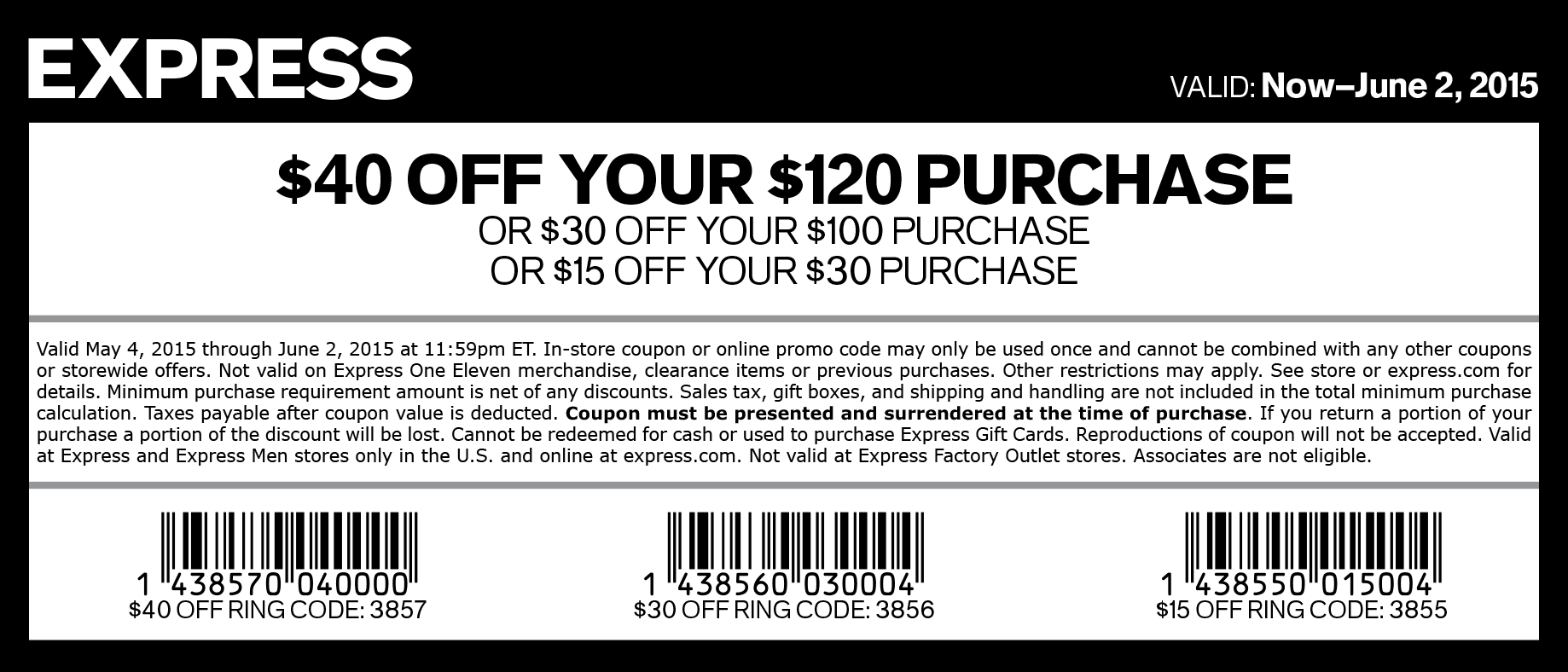 Express Coupon March 2017 $15 off $30 & more at Express, or online via promo code 3855