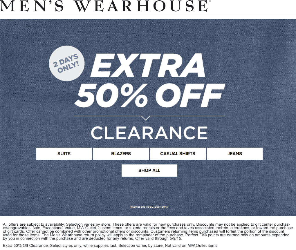 Mens Wearhouse Coupon December 2017 Extra 50% off clearance today at Mens Wearhouse