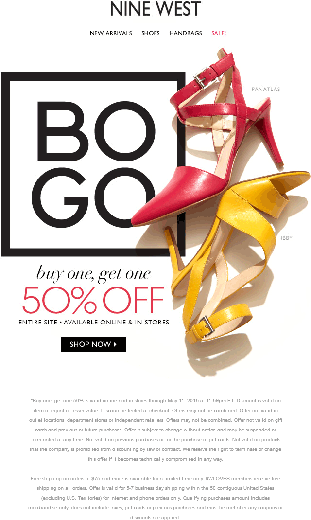 Nine West Coupon March 2018 Second pair of shoes 50% off at Nine West, ditto online