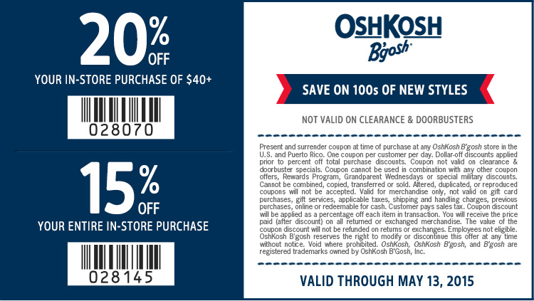 OshKosh Bgosh Coupon August 2017 15-20% off at OshKosh Bgosh