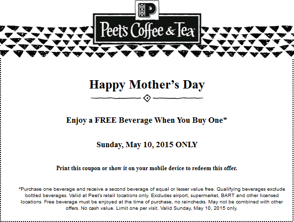 Peets Coffee & Tea Coupon October 2016 Second drink free Sunday at Peets Coffee & Tea
