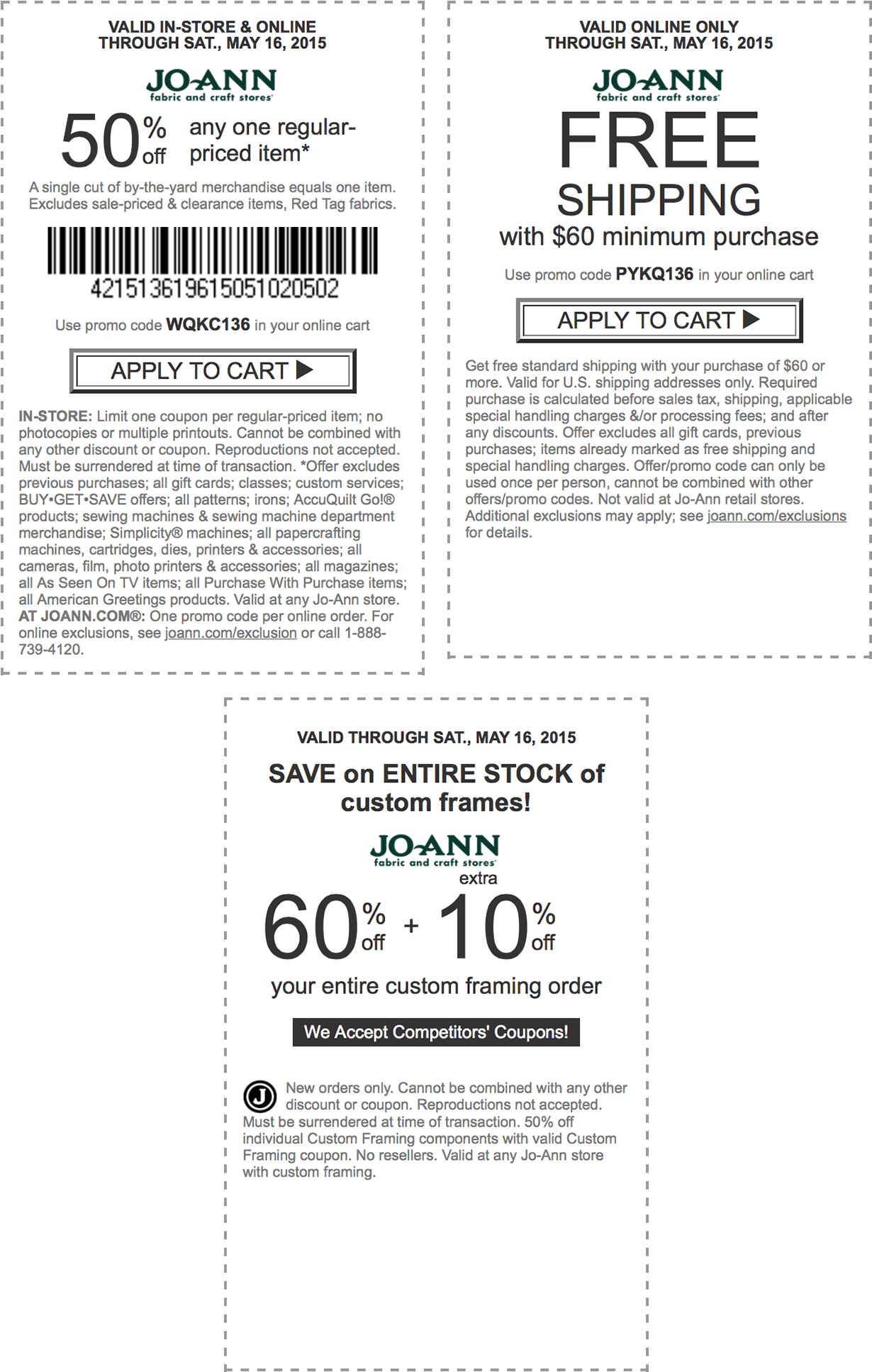 Jo-Ann Coupon November 2017 50% off a single item at Jo-Ann Fabric, or online via promo code WQKC136