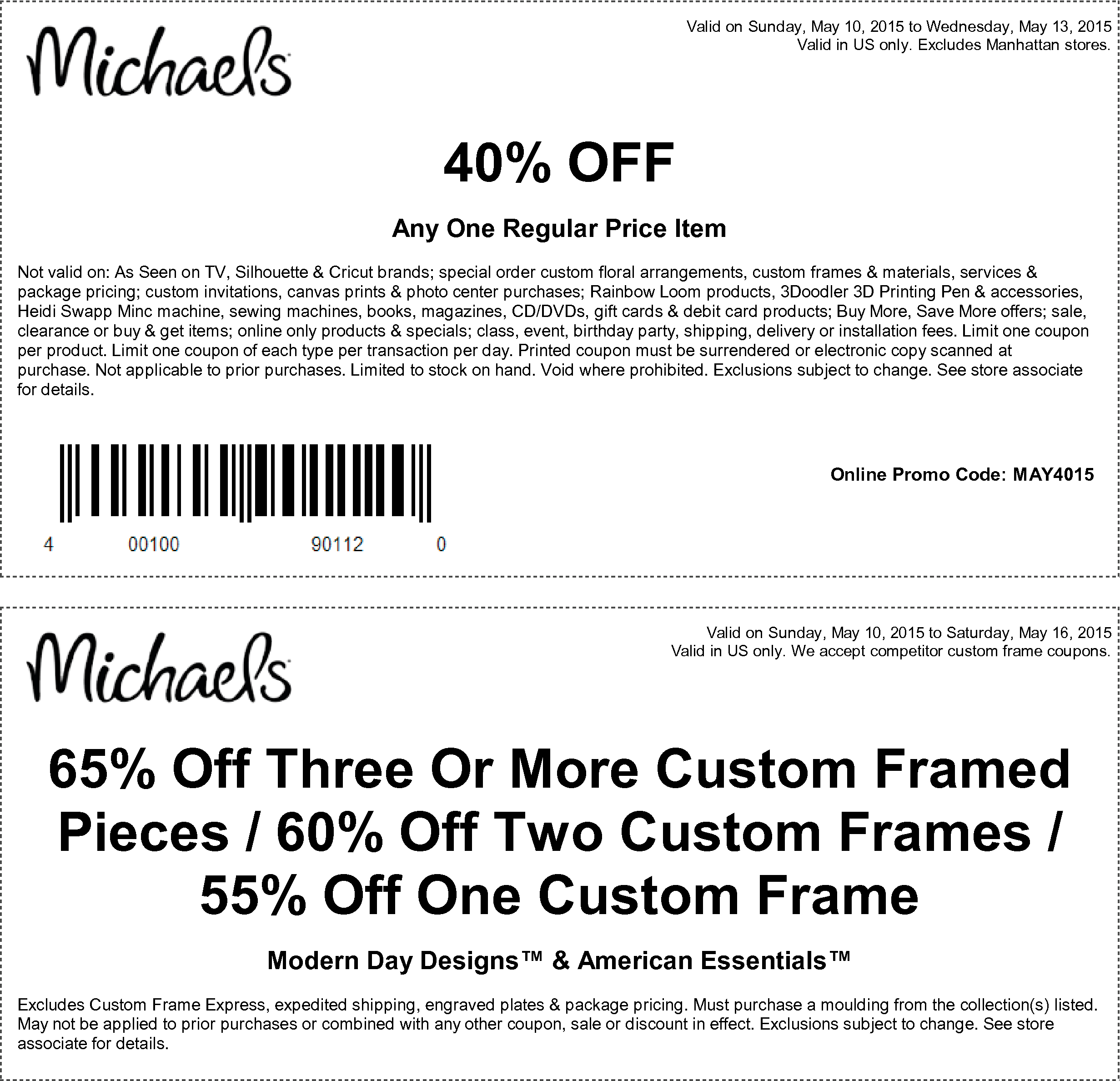 Michaels Coupon October 2018 40% off a single item at Michaels, or online via promo code MAY4015