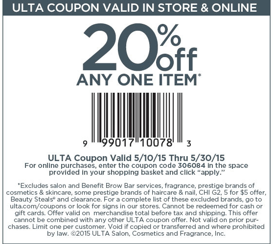 Ulta Coupon February 2017 20% off a single item at Ulta, or online via promo code 306084
