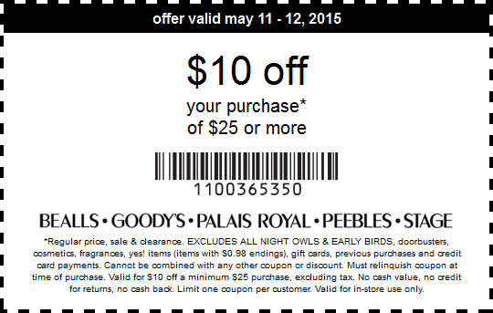 Bealls Coupon May 2017 $10 off $25 today at Bealls, Goodys, Palais Royal, Peebles & Stage stores