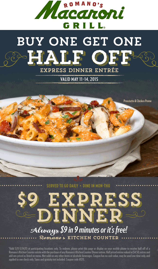 Macaroni Grill Coupon January 2018 Second dinner 50% off at Romanos Macaroni Grill