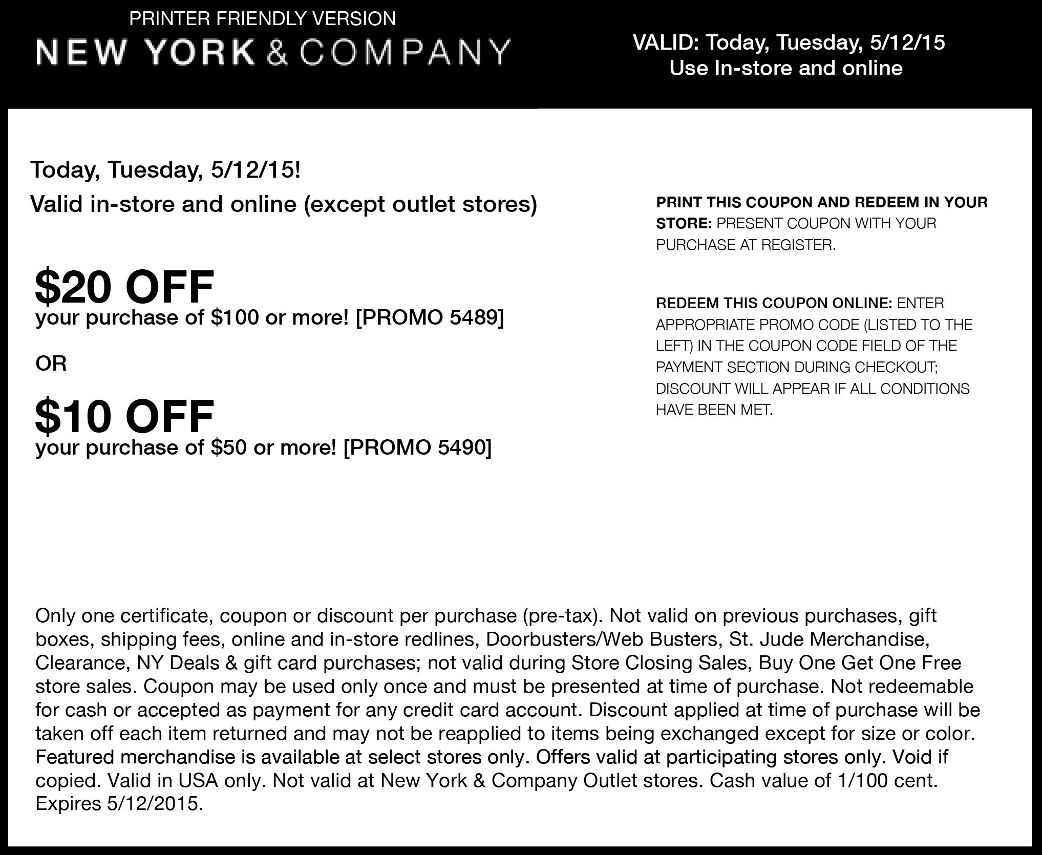 New York & Company Coupon July 2018 $10 off $50 & more today at New York & Company, or online via promo code 5490