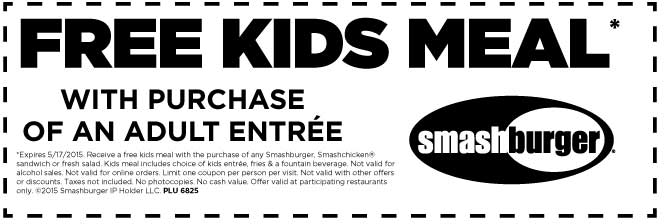 Smashburger Coupon October 2017 Free kids meal with your entree at Smashburger