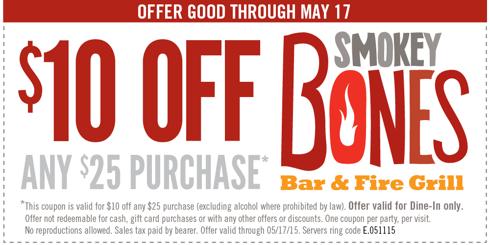 Smokey Bones Coupon January 2017 $10 off $25 at Smokey Bones bar & grill