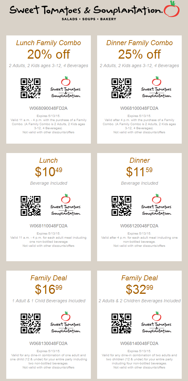 Sweet Tomatoes Coupon April 2017 20% off lunch, 25% off dinner & more at Souplantation & Sweet Tomatoes